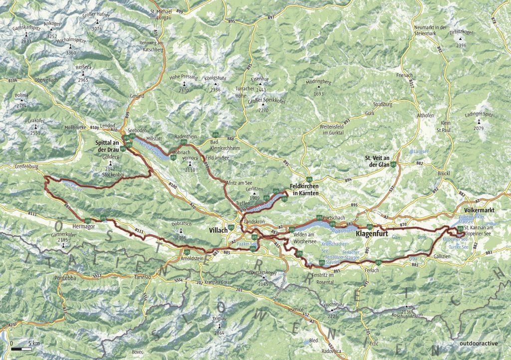 Carinzia mappa Gran Tour km 340